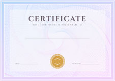 Certificate, Diploma template. Award pattern royalty free stock image