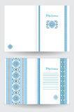 Certificate or diploma template with ethnic ornament pattern in white blue colors Stock Photos