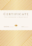 Certificate, Diploma template. Gold award pattern Stock Photography