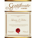 Certificate or Diploma template. Isolated on white background Stock Photography