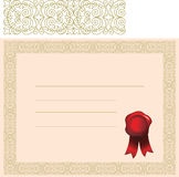 Certificate with elaborate border Royalty Free Stock Images