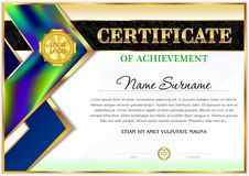 Certificate of employment template. Geometrical simple shapes royalty free illustration