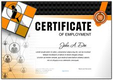 Certificate of employment template. Geometrical simple shapes, people icons and grey and orange color design royalty free illustration