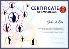 Certificate of employment template. Strucure line design contains person silhouettes over the geometrical and chaotic texture vector illustration