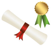 Certificate of excellence. Roll white paper with ribbon Royalty Free Stock Photos