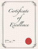Certificate of Excellence Royalty Free Stock Photos
