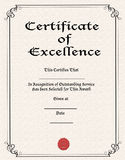 Certificate of Excellence royalty free stock image