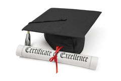 Certificate of excellence and graduation cap. On white background royalty free stock photo