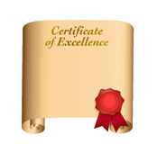 Certificate of excellence illustration Royalty Free Stock Photography