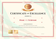 Certificate of excellence template on abstract ribbon background. With vintage border style royalty free illustration