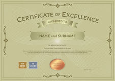 Certificate of excellence template with award ribbon on abstract Stock Photography