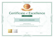 Certificate of excellence template with bronze award ribbon on a Stock Image