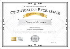 Certificate of excellence template with gold award ribbon on abs Royalty Free Stock Image