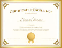 Certificate of excellence template with gold border. Certificate of excellence template with vintage gold border stock illustration