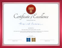 Certificate of excellence template. With red border royalty free illustration