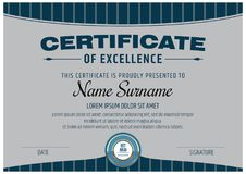 Certificate of Excellence Template. Vector illustration Royalty Free Stock Photography