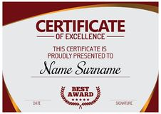Certificate of Excellence Template. Vector illustration Royalty Free Stock Image