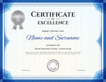 Certificate of excellence template with gold border stock vector certificate of excellence in vector royalty free stock photo yadclub Choice Image