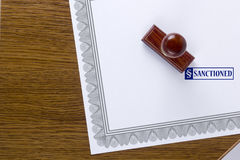Certificate form and stamp sanctioned Royalty Free Stock Photo