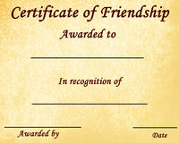 Certificate of friendship Stock Image