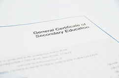 Certificate. General Certificate of Secondary Education Royalty Free Stock Photos