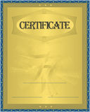 Certificate Gold. Blue frame security Royalty Free Stock Image