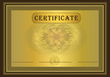 Certificate Gold Brown. Car template Royalty Free Stock Images