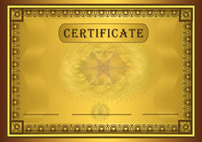 Certificate gold frame Stock Photos
