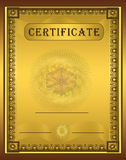 Certificate gold frame Vertical. Card template Royalty Free Stock Images