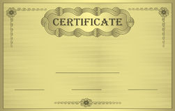Certificate gold ornament Stock Image