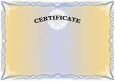 Certificate graduate diploma. Beautiful Certificate with detailed complex blue   border, yellow background - landscape format Royalty Free Stock Images