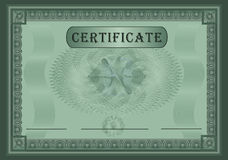 Certificate green. Security card template Royalty Free Stock Image