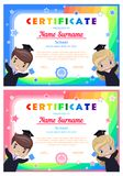 Certificate with happy graduates, girl and boy in graduation dresses and hats. pink and blue stock illustration