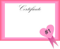 Certificate with heart Stock Photography