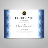 Certificate - horizontal elegant vector document. Certificate - modern horizontal elegant vector document with luxury design. Diploma of achievement Stock Photo