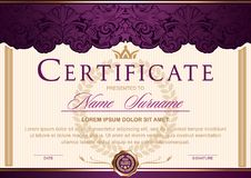 Certificate horizontal in Royal style Vintage, Rococo, Baroque, glamour.Dark purple with gold color. Certificate horizontal in Royal style Vintage, Rococo stock illustration