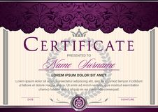 certificate horizontal in Royal style Vintage, Rococo, Baroque, glamour.Dark purple with silver color royalty free illustration