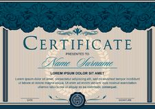 Certificate horizontal in the style of vintage, rococo, baroque in the form of a scene with scenes and columns royalty free illustration