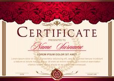 Certificate horizontal in the style of vintage, rococo, baroque in the form of a scene with scenes and columns. Decorated with classic floral ornament stock illustration