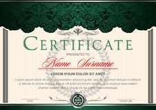 Certificate horizontal in the style of vintage, rococo, baroque in the form of a scene with scenes and columns. Decorated with classic floral ornament Royalty Free Stock Images