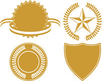Certificate Icon Set. Set of 4 gold certificate icons Royalty Free Stock Photography