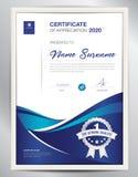 Certificate a ilustração do vetor do molde, disposição do diploma no a4 Fotografia de Stock Royalty Free