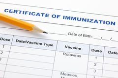 Certificate of immunization. Certificate of immunization and pencil royalty free stock images