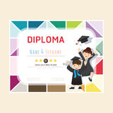 Certificate kids diploma, kindergarten template layout Stock Photo