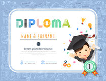 Certificate kids diploma, kindergarten template layout Royalty Free Stock Images