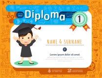 Certificate kids diploma, kindergarten template layout doodle  Stock Image