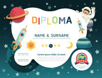 Certificate kids diploma, kindergarten template layout space bac Stock Photo