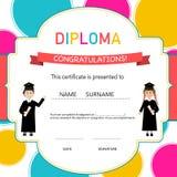 Certificate of kids diploma, preschool,kindergarten template background vector illustration EPS10. royalty free illustration