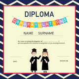Certificate of kids diploma, preschool,kindergarten template bac Royalty Free Stock Photography