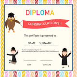 Certificate of kids diploma, preschool,kindergarten template background vector illustration EPS10. vector illustration